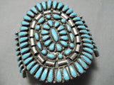 Colossal Vintage Native American Navajo Sky Blue Turquoise Sterling Silver Bracelet Old