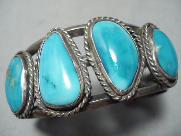 James Platero Vintage Native American Navajo Blue Gem Turquoise Sterling Silver Bracelet Old