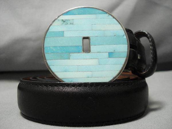 Christine Alice Eustace Native American Zuni Vintage Turquoise Sterling Silver Concho Belt-Nativo Arts