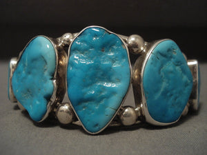 Chunky And Big Vintage Navajo Turquoise Native American Jewelry Silver Bracelet Old-Nativo Arts