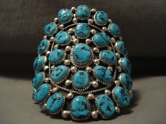 Chunky Dunk Vintage Navajo 136 Gram Turquoise Native American Jewelry Silver Bracelet Old-Nativo Arts