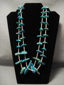 Chunky Nugget Turquoise Old Santo Domingo Necklace-Nativo Arts