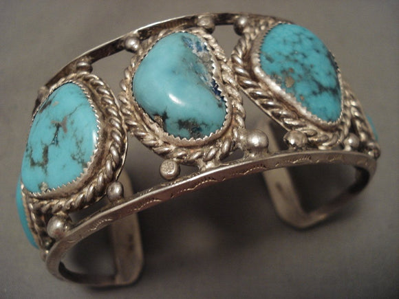Chunky Old Navajo Nlue Turquoise Native American Jewelry Silver Rbacelet- For Large Wrist-Nativo Arts
