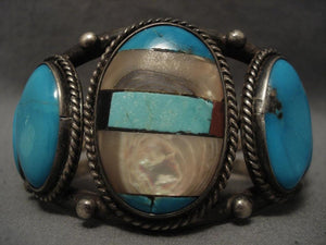 Chunky Vintage Navajo Channel Inlay Turquoise Native American Jewelry Silver Bracelet-Nativo Arts