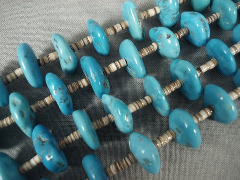 Chunky Vintage Navajo Native American Jewelry jewelry 'Ocean Blue' Necklace Old-Nativo Arts