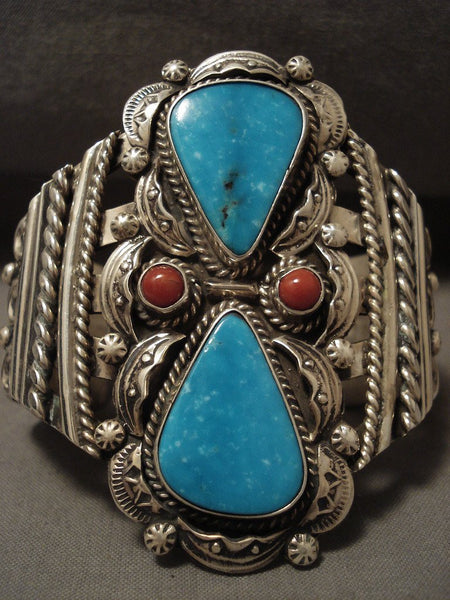 Colossal 100 Grams Modernistic Navajo Turquoise Coral Native American Jewelry Silver Bracelet