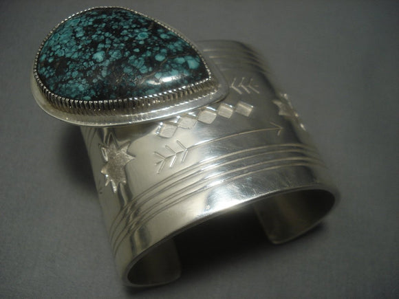 Colossal 214 Gram Vintage Navajo Native American Jewelry jewelry Turquoise Sterling Silver Bracelet Old-Nativo Arts