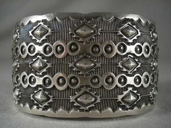 Colossal Advanced Native American Jewelry Silver Work Vintage Navajo Native American Jewelry Silver Bracelet