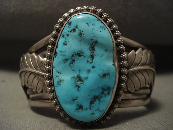 Colossal Leaf Vintage Navajo Natural Turquoise Native American Jewelry Silver Bracelet Old-Nativo Arts