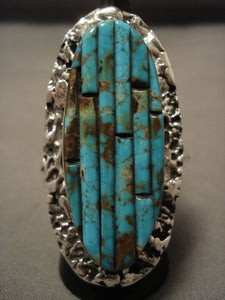 Colossal Modernistic Navajo Turquoise Native American Jewelry Silver Ring-Nativo Arts