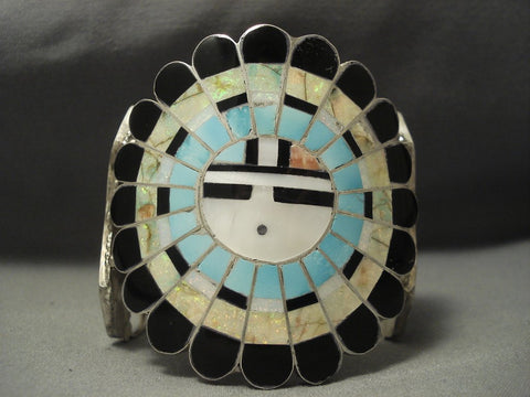 Colossal Modernistic Zuni Turquoise Sterling Native American Jewelry Silver Opal Bracelet-Nativo Arts