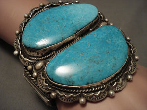 Colossal Navajo 'Duel Pool' Turquoise Native American Jewelry Silver Heavy Stamp Bracelet-Nativo Arts