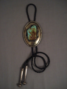 Colossal Old Navajo Vintage Green Turquoise Native American Jewelry Silver Bolo Tie Vtg-Nativo Arts