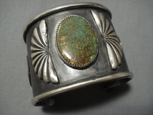 Colossal Royston Turquoise Sterling Silver Concho Belt Bracelet Cuff-Nativo Arts