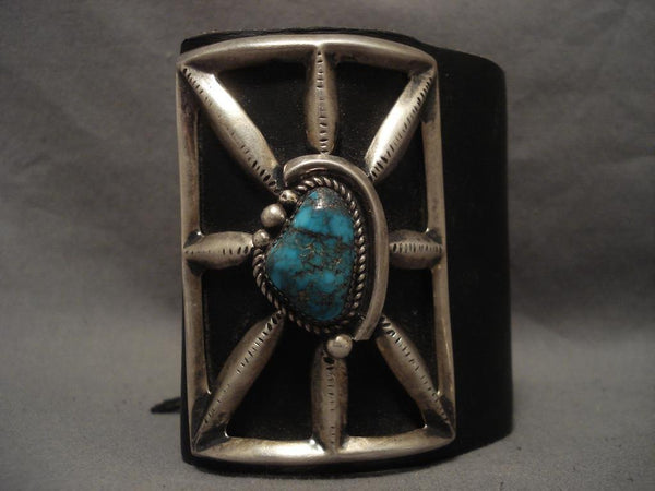 Colossal Vintage Navajo Bisbee Turquoise Native American Jewelry Silver Ketoh Bracelet