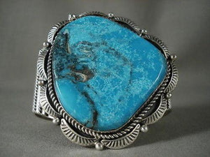 COLOSSAL VINTAGE NAVAJO EARTH BLUE SILVER BRACELET-Nativo Arts