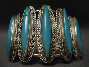 Colossal Vintage Navajo Long Turquoise Native American Jewelry Silver Bracelet-Nativo Arts