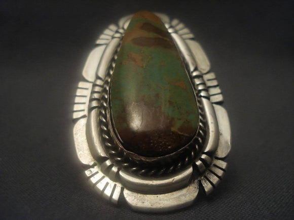 Colossal Vintage Navajo Natural King's Manassa Turquoise Native American Jewelry Silver Ring-Nativo Arts