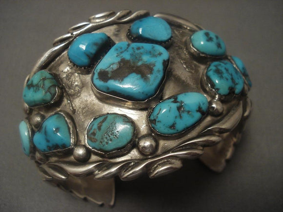 Colossal Vintage Navajo Old Bisbee Turquoise Native American Jewelry Silver 1950's Bracelet-Nativo Arts