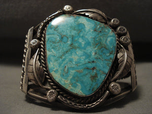 Colossal Vintage Navajo 'Turquoise Boulder' Native American Jewelry Silver Leaf Bracelet-Nativo Arts