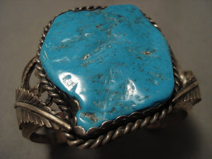 Colossal Vintage Navajo Turquoise 'Mirrored Leaf' Native American Jewelry Silver Bracelet-Nativo Arts