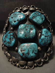 Colossal Vintage Navajo Turquoise Native American Jewelry Silver Bracelet Old-Nativo Arts