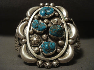Colossal Vintage Navajo Turquoise Native American Jewelry Silver Bracelet-Nativo Arts