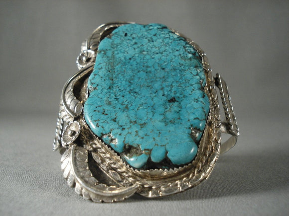 Colossal Vintage Navajo 'Turquoise Nugget Treasure' Native American Jewelry Silver Bracelet-Nativo Arts