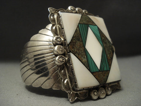 Colossal Vintage Navajo Turquoise Piano Key Sterling Native American Jewelry Silver Bracelet Old-Nativo Arts