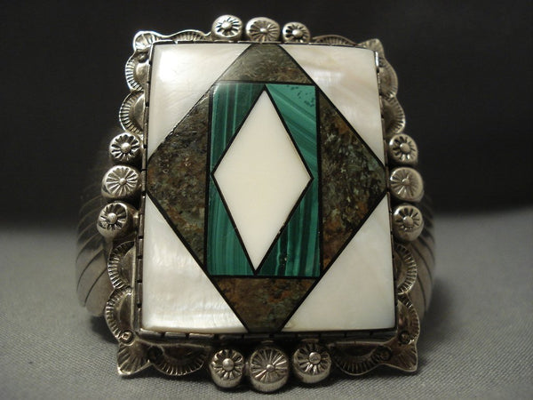 Colossal Vintage Navajo Turquoise Piano Key Sterling Native American Jewelry Silver Bracelet Old