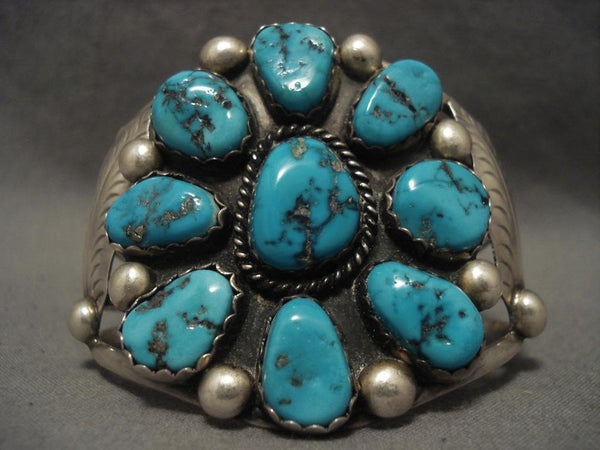 Colossal Vintage Navajo Turquoise Satellite Native American Jewelry Silver Bracelet