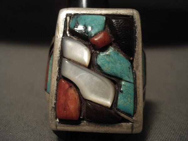Colossal Vintage Navajo Turquoise Wood Native American Jewelry Silver Coral Ring Old