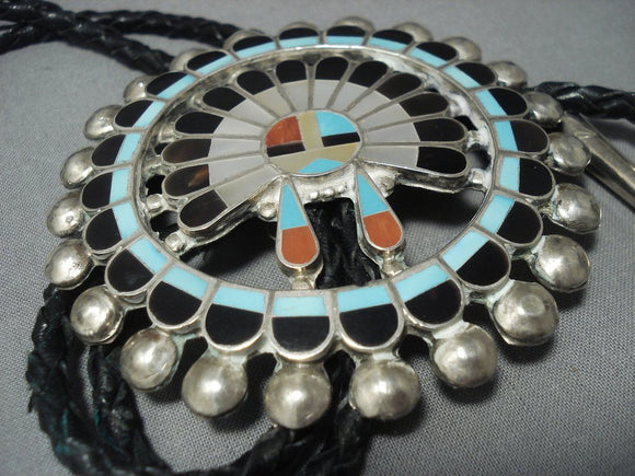 Colossal Vintage Zuni Turquoise Sterling Native American Jewelry Silver Bolo Tie Old Pawn-Nativo Arts