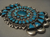 Colossal Xxl Vintage Navajo Very Old Turquoise Native American Jewelry Silver Pin Old-Nativo Arts