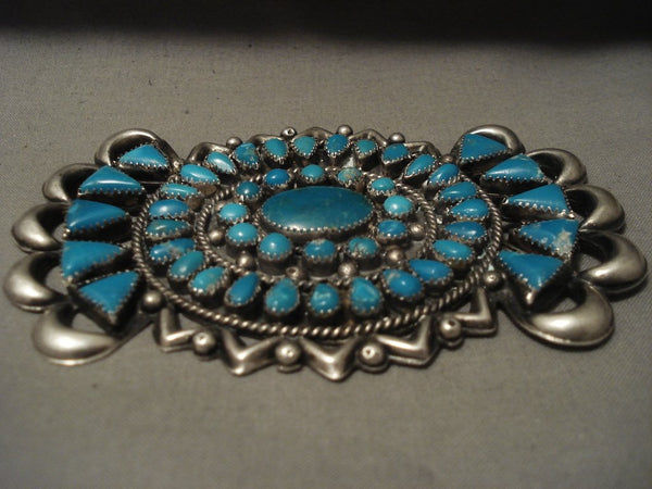 Colossal Xxl Vintage Navajo Very Old Turquoise Native American Jewelry Silver Pin Old