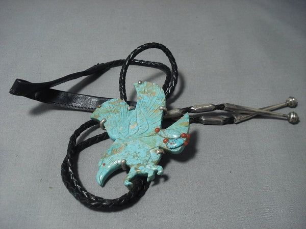 Completely Hand Carved Eagle Vintage Navajo Sterling Native American Jewelry Silver Bolo Tie-Nativo Arts
