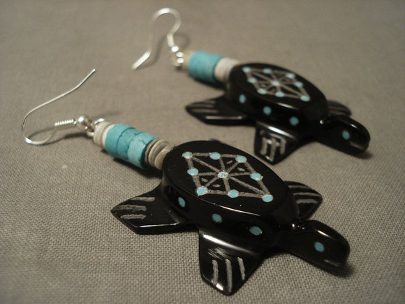 Completely Hand Carved Zuni Turtle Turquoise Inlaid Earrings-Nativo Arts