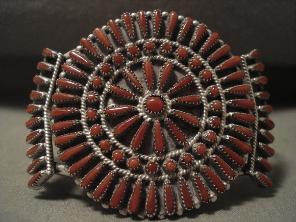 Completely Natural Coral Vintage Zuni Native American Jewelry Silver Bracelet-Nativo Arts