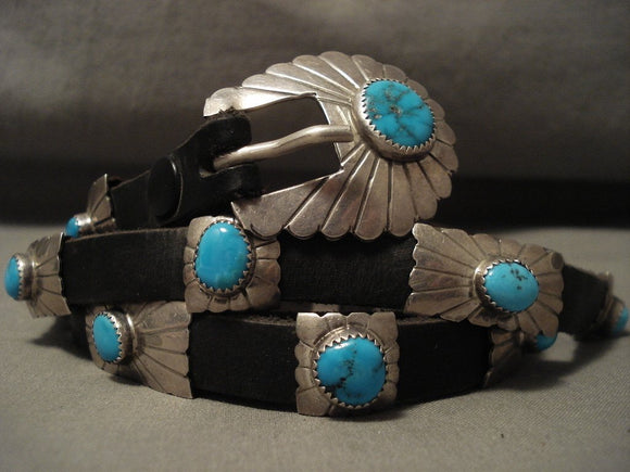 Concho Belt For Jeans! Hvy Rare Vintage Navajo Turquoise Native American Jewelry Silver Old-Nativo Arts