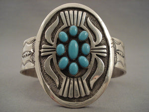 Concho Love Satellite Turquoise Navajo Native American Jewelry Silver Bracelet-Nativo Arts