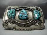 Convex Vintage Navajo Turquoise Sterling Native American Jewelry Silver Buckle - 102 Grams-Nativo Arts