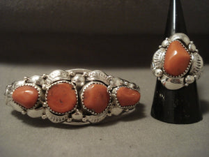 Coral Reef Chunk Vintage Navajo Native American Jewelry Silver Ring Bracelet Set-Nativo Arts