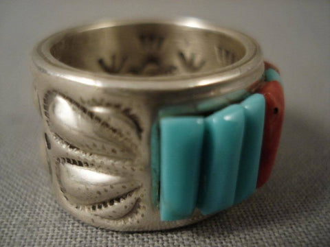 Corn Row Vintage Navajo Ray Adakai Native American Jewelry Silver Ring-Nativo Arts