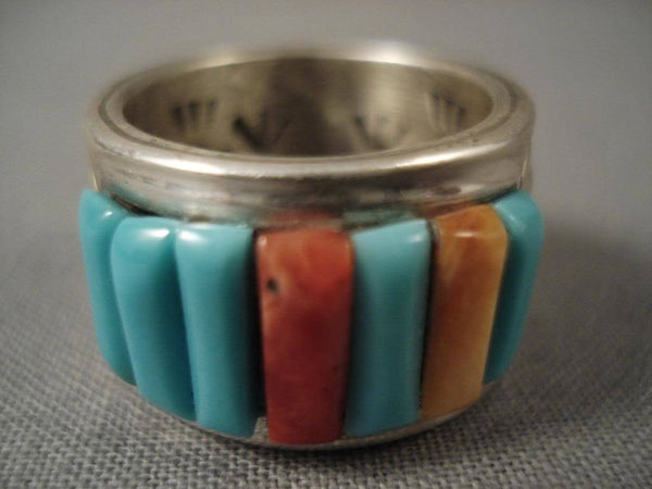 Corn Row Vintage Navajo Ray Adakai Native American Jewelry Silver Ring