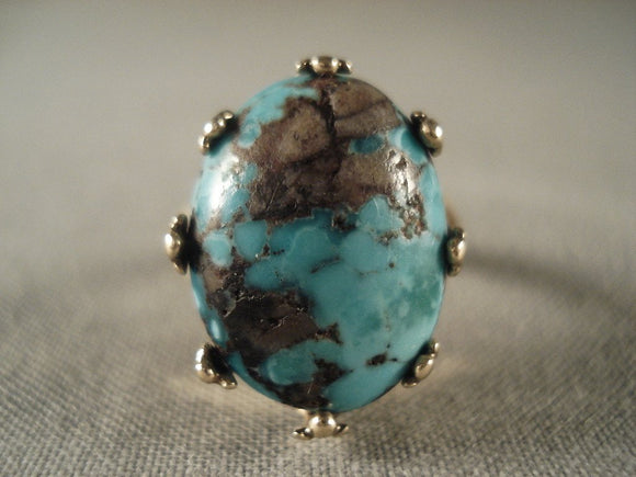 Crazy Vintage Navajo Native American Jewelry jewelry Solid Gold Bisbee Turquoise Ring Old Vtg-Nativo Arts