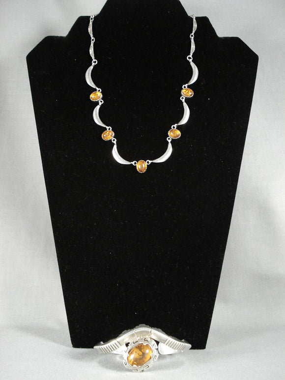 Cute Amber Vintage Navajo Native American Jewelry Silver Necklace Set-Nativo Arts
