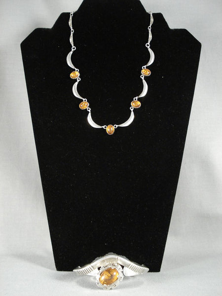 Cute Amber Vintage Navajo Native American Jewelry Silver Necklace Set