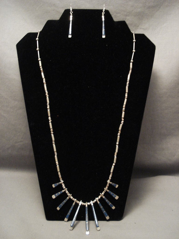 Cute And Incredible Old Zuni Denim Lapis Native American Jewelry Silver Necklace Set-Nativo Arts