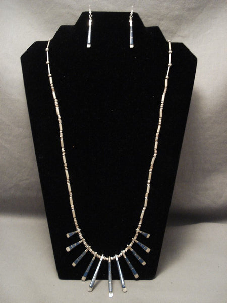 Cute And Incredible Old Zuni Denim Lapis Native American Jewelry Silver Necklace Set