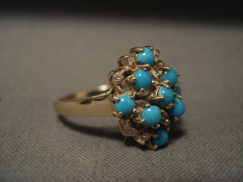 Cute Cute Vintage 14k Gold Turquoise Snake Eye Ring-Nativo Arts